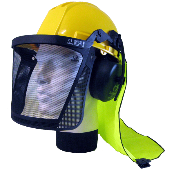 Neck shade attached to hard hat with earmuffs and visor